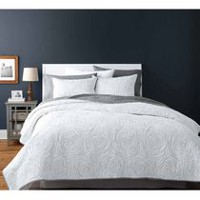 hometrends Rose White Quilt Set Double/Queen