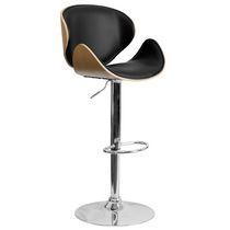 Black Vandue RHOLEATHER-BLACK Modernhome Rho Leather Contemporary Adjustable Barstool