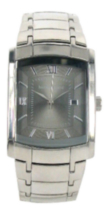 Harvé Benard Men's Silver Tank QA Bracelet Watch with Date and Charcoal Dial