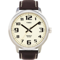 Timex Easy Reader watch brown leather strap