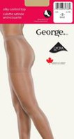 George Ladies' Silky Control Top Cotton Gusset Reinforced Toe Pantyhose Beige B