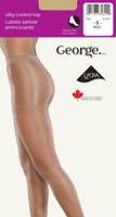 George Ladies' Silky Control Top Cotton Gusset Sandal Foot Pantyhose Black C