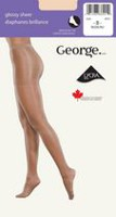 George Ladies' Glossy Reinforced Panty and Toe Sheer Leg Pantyhose Beige B
