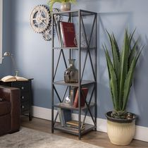 Manor Park 4 Shelf Metal Wood Tall Bookcase - Multiple Finishes