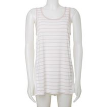 Jordache Women's High Low Stripe Tank Top with Woven Back White L/G