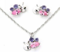 "Sterling Silver ""Whimzy"" Pendant and Earring ""Bee"" Set with Amethyst and Pink Cubic Stones On A 15"" Chain"