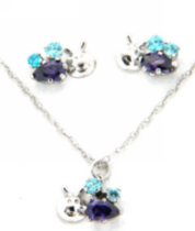 "Sterling Silver ""Whimzy"" pendant and earring ""Bee"" set with Amethyst and Aqua cubic stones"