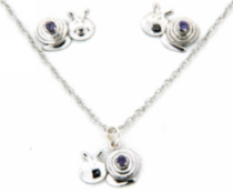 "Sterling Silver ""Whimzy"" pendant and earring ""Snail"" set with Amethyst cz stones"
