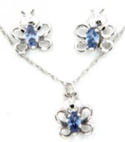 "Sterling Silver ""Whimzy"" Pendant and Earring ""Butterfly"" Set with Blue Cz Stone"