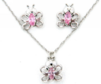 "Sterling Silver ""Whimzy"" pendant and earring ""Butterfly"" set with pink cz stones"