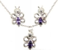 "Sterling Silver ""Whimzy"" Pendant and Earring ""Butterfly"" Set with Amethyst Cz Stones"