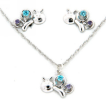 "Sterling Silver ""Whimzy"" pendant and earring ""Bug"" set with Aqua and Amethyst cubic stones on 15`chain"