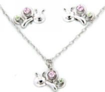 "Sterling Silver ""Whimzy"" pendant and earring ""Bug"" set with pink and peridot cubic stones"