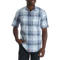 Wrangler Men's Premium Short Sleeve Woven Plaid Shirt XXXL