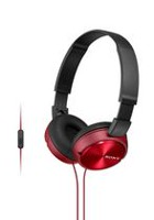 SONY ZX Series Stereo Over-Ear Headphones with Microphone, Red - MDRZX310APR