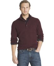 Arrow Men's Cable Button Mock Neck Sweater Small