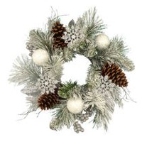 "Holiday Time 20"" Snowy Pine Flocked Artificial Christmas Wreath"