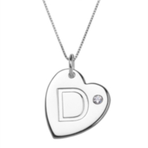 "Sterling Silver Initial ""D"" Heart Pendant with Rhinestone Accent"