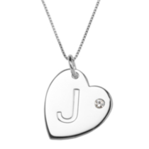 "Sterling Silver Initial ""J"" Heart Pendant with Rhinestone Accent"