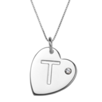 "Sterling Silver Initial ""T"" Heart Pendant with Rhinestone Accent"