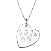 "Sterling Silver Initial ""W"" Heart Pendant with Rhinestone Accent"