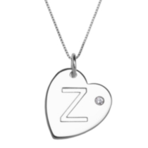"Sterling Silver Initial ""Z"" Heart Pendant with Rhinestone Accent"