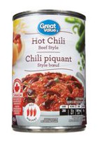 Great Value Beef Style Hot Chili with Meat