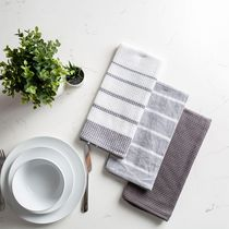 Fabstyles Fouta Set of 3, 100% Ring-Spun Cotton - Premium and Soft Kitchen Towels
