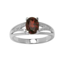 Sterling Silver Genuine Garnet Ring with Diamond Accent 8
