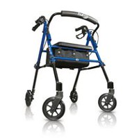 Hugo Fit Rollator Walker with Padded Seat, Backrest and Storage Bag, Pacific Blue