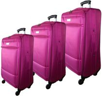 McBRINE Super Light 3 Piece Soft sided Luggage set on four  Swivel wheels Pink