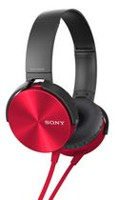 Sony Extra Bass Over-Ear Headphones with Microphone Red