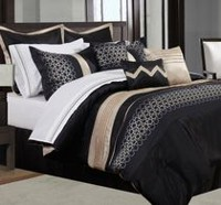 Safdie & Co. Home Deluxe Collection Black 100% Polyester Comforter Set Queen