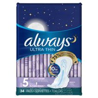 Always Ultra Thin pads Extra Heavy Overnight w/Flexi-Wings unscented