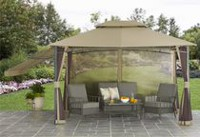 hometrends Parker Creek Cabin Style Gazebo with Adjustable Side Awning