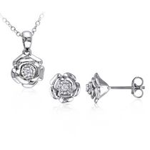 Miabella 0.10 Carat T.W. Diamond Sterling Silver Flower Pendant and Earrings Set, 18""