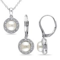 Miabella 7.5-8mm Cultured Freshwater Pearl and 0.10 Carat T.W. Diamond Sterling Silver Halo Pendant and Earrings Set, 18""