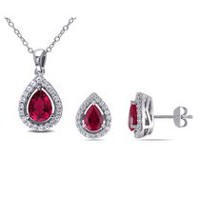 Tangelo 4.88 Carat T.G.W. Created Ruby and Created White Sapphire Sterling Silver Halo Teardrop Pendant and Earrings Set, 18""
