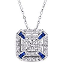 Tangelo 1.94 CT T.G.W. Created Blue Spinel and Cubic Zirconia Sterling Silver Vintage Square Pendant, 18""