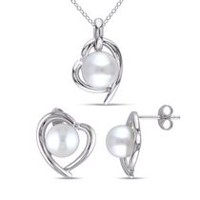 Miabella 8-9mm Cultured Freshwater Pearl and Diamond-Accent Sterling Silver Heart Pendant and Earrings Set, 18""