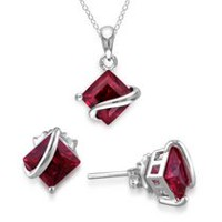 Tangelo 4.38 Carat T.G.W. Created Ruby Sterling Silver Solitaire Pendant and Earrings Set, 18""
