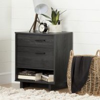 South Shore Fynn Nightstand with Drawers and Cord Catcher Gray Oak