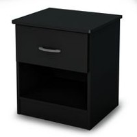 South Shore Smart Basics 1-Drawer Nightstand Pure Black