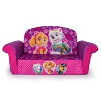 Marshmallow Furniture; Children's Upholstered 2 in 1 Flip Open Sofa; Nickelodeon PAW Patrol; Pink Edition; by Spin Master