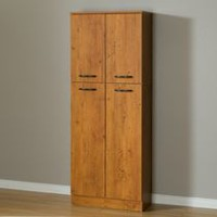 South Shore Smart Basics 4-Door Storage Pantry Country Pine
