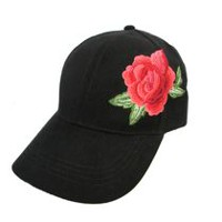1ecc32a9a8e George Ladies  Faux Suede Baseball Hat with Floral embroidery