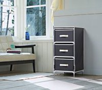 Homestar Black Fabric Dresser with 3 Drawers