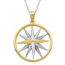 PAJ Sterling Silver Two Tone Rhodium and Gold Plated Compass Pendant