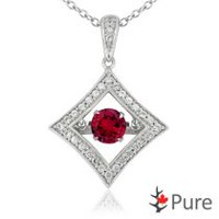Pure Dancing 1 carat T.G.W. Created Ruby (5.25mm) Diamond Shaped Necklace surrounded with White Corundum Set in 925 Sterling Silver
