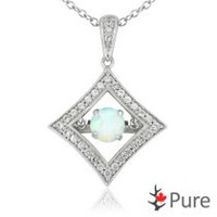 Pure Dancing Created Opal (5mm) Diamond Shaped Necklace surrounded with White Corundum Set in 925 Sterling Silver
